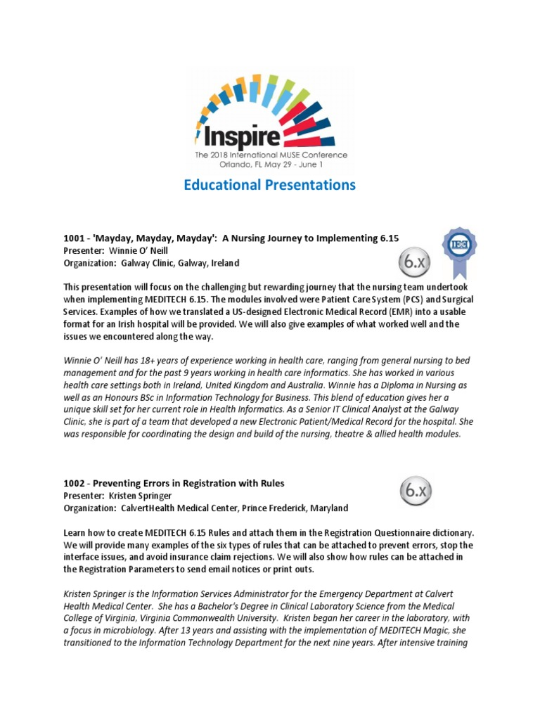 2018 MUSE Inspire Conference - Educational Presentations-3.7.18 ...