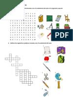 Ficha de Trabajo Materiales Escolares