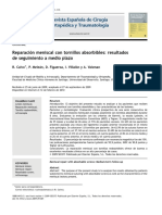 2010 Reparación meniscal con tornillos absorbibles, resultados de seguimiento a medio plazo