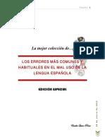 La Mejor Colección de Los Errores Más Comunes y Habituales en El Mal Uso de La Lengua Española