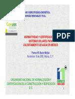 Normatividad y Certificacion Sistemas Solares Calentamiento Agua
