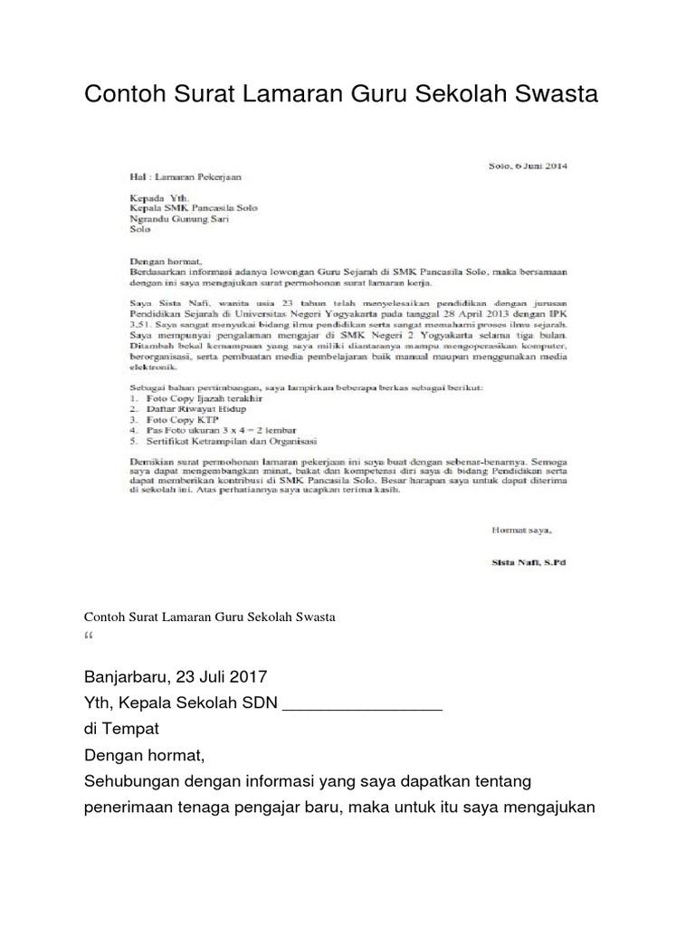 Contoh Surat Lamaran Guru Sekolah Swasta