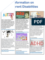 information on different disabilities- parent flyer