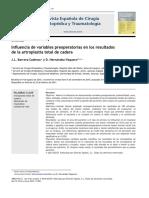2011 Influencia de Variables Preoperatorias en Los Resultados de La Artroplastia Total de Cadera