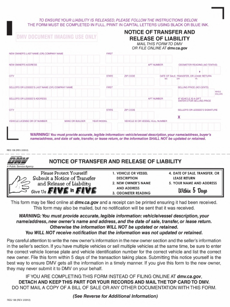 Notice Of Transfer And Release Of Liability >> Reg 138 Notice Of Transfer And Release Of Liability 7 Views