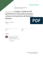 Entrada en Juego El Placer Del Parentesis y La Poe
