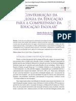 Contribuição da Sociologia da Educação para a Compreensão da Educação Escolar