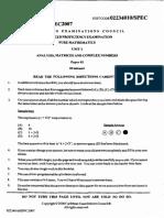 2007 CAPE Pure Mathematics U2 Specimen Paper