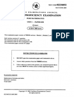 June 2005 CAPE Pure Mathematics U2 P3B