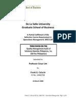 DLSU MBA Operations Management Term Paper Final