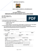 Tertiary Institution Bursary Forms