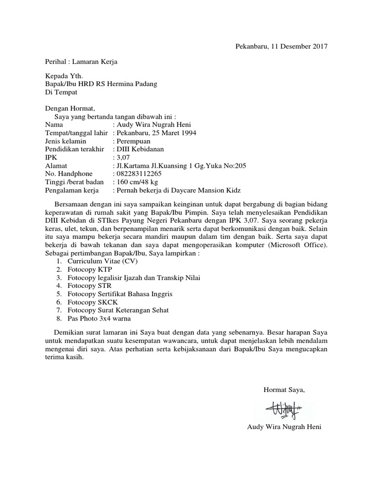 Contoh Surat Lamaran Kerja Rs Hermina Contoh Lif Co Id