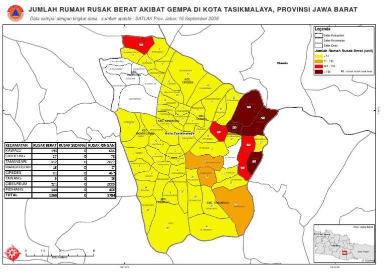 EQ Tasik Kerusakan Rumah Level Desa Kota Tasikmalaya BNPB
