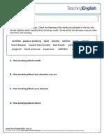 Smoking Stricks Worksheet