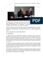 Carta de La Congregación Para La Doctrina de La Fe Sobre La Salvación Cristiana