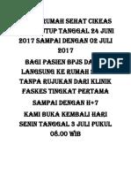 Klinik Rumah Sehat Cikeas Akan Tutup Tanggal 24 Juni 2017 Sampai Dengan 02 Juli 2017
