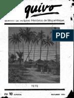 Boletim do Arquivo Histórico de Moçambique Nº10 Especial - Outurbro de 1991