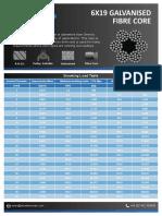 Datasheet 6x19 Fibre Core Galvanised