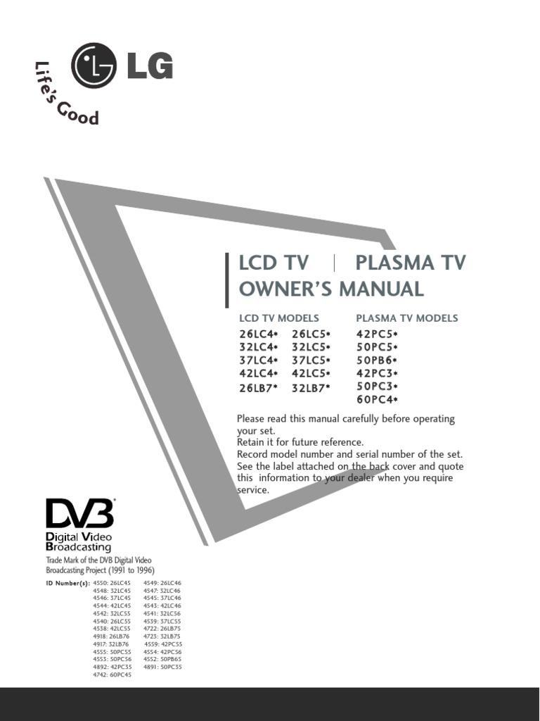 manual lg lcd tv sets hdmi digital television rh scribd com service manual lg tv led lg owner's manual plasma tv
