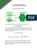 Factor de empaquetamiento para una Celda Hexagonal Compacta