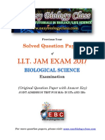 IIT JAM Biological Sciences 2017 Question Paper