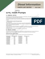 Notas de Listas de Despieces Bombas EPIC HSDI