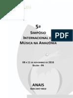 Anais V SIMA 2016 - Simpósio Internacional de Música na Amazônia