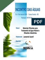 1º ENA - Materiais Filtrantes Para Tratamento de Água Potável e Efluentes Industriais -Carbonifera Criciuma