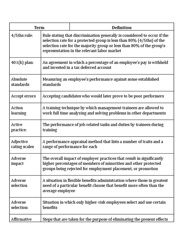HR Terminology   Performance Appraisal   Employment