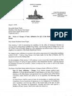 Sen. John Doll Letter to Senate Leadership