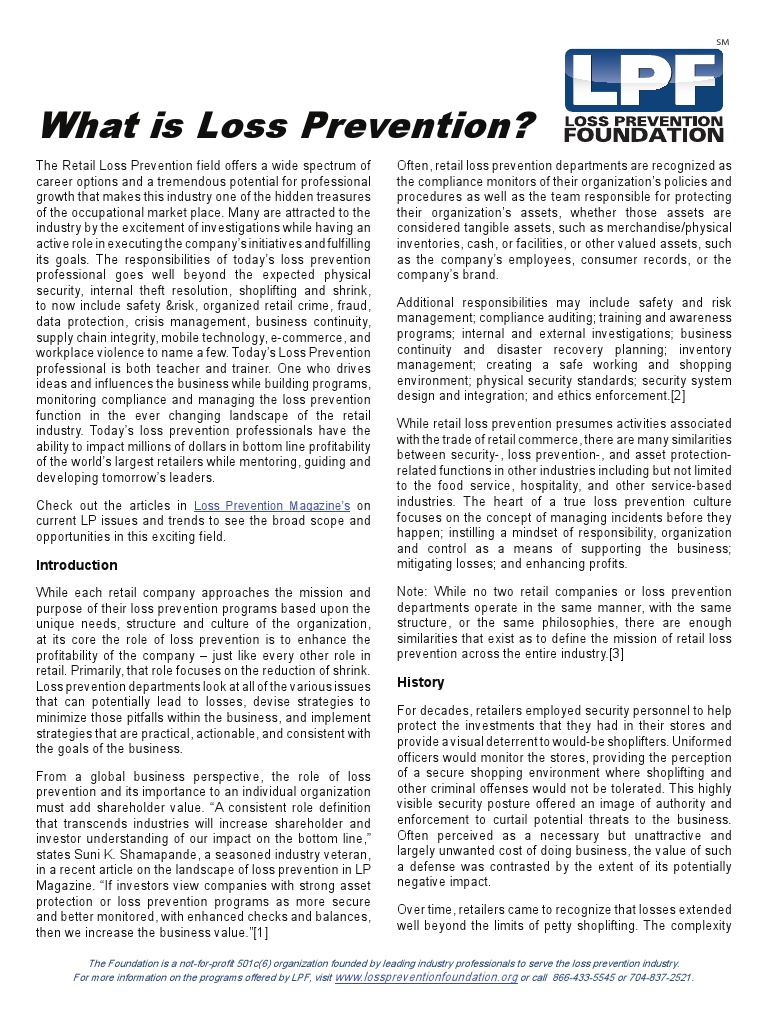What Is Loss Prevention Pdf Risk Management Occupational Safety And Health