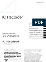 IC RecorderSX-850 Manual