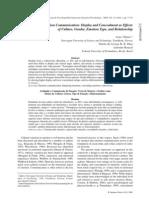 Vikan, Dias Roazzi, 2009 Rating Emotion Communication. Display & Concealment as Effects of Culture, Gender, Emotion , & Rel., V43n1a09