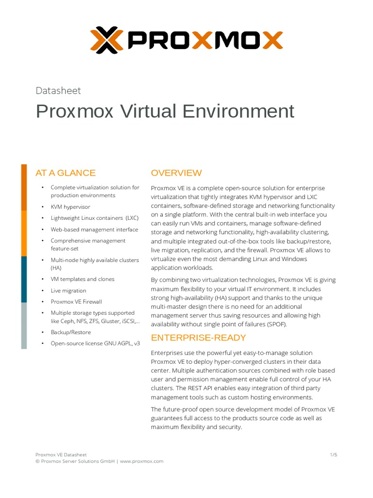 Proxmox VE Datasheet | Computer Cluster | Virtual Machine