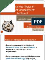 II Advanced Topics in Project Management