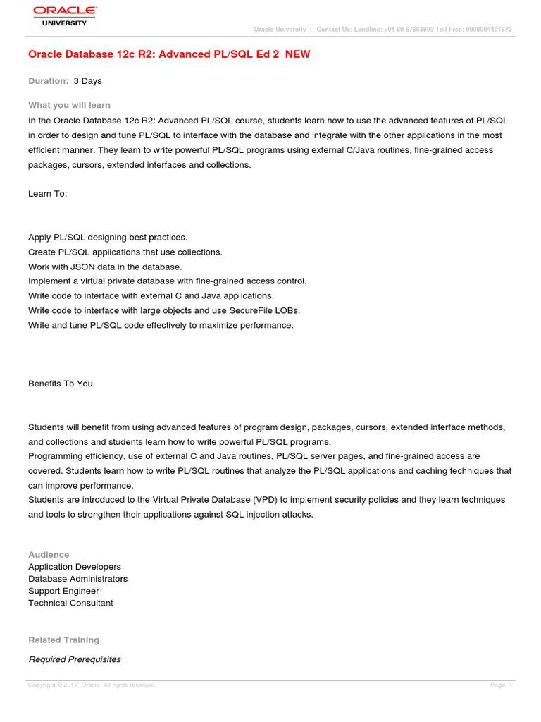 Oracle Database 12c R2 Advanced PL-SQL Ed 2-D80343GC20 | Pl/Sql | Sql