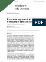 Perelman, argument ad hominem et ethos rhétorique