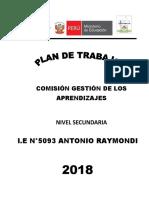 PLAN de TRABAJO Gestion de Los Aprendizajes- 2018