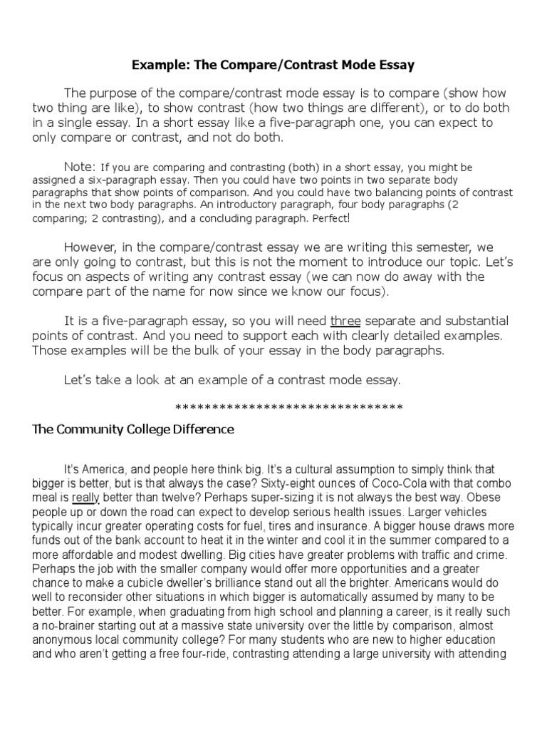 example the compare contrast essaypdf essays sentence linguistics