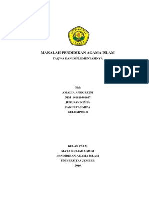 Pdf Makalah Pendidikan Agama Islam