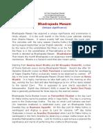 Signficance of Bhaadrapada Masam
