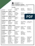 March 10, 2018 Yahrzeit List