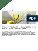 Birra Al Posto Del Vino, e Miele e Nocciole Con Il Pane. Lo Stop Del Cardinale Sarah! – Fine Dei Tempi