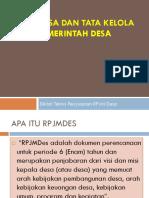 RPJMDes Dan Tata Kelola Pemerintah Desa