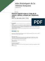 Mazauric, C., Morelly. Code de La Nature