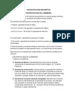 PSICOPATOLOGÍA DESCRIPTIVA MEMORIA (5a clase)