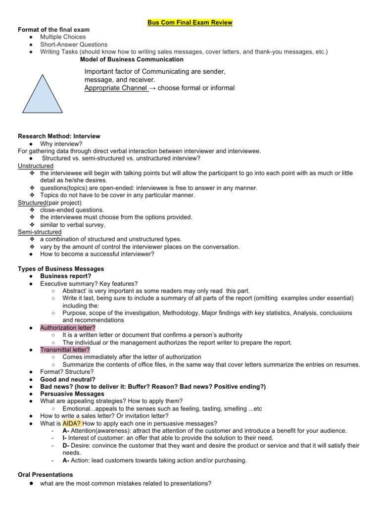 Business Communication Final-Exam   Communication   Psychological