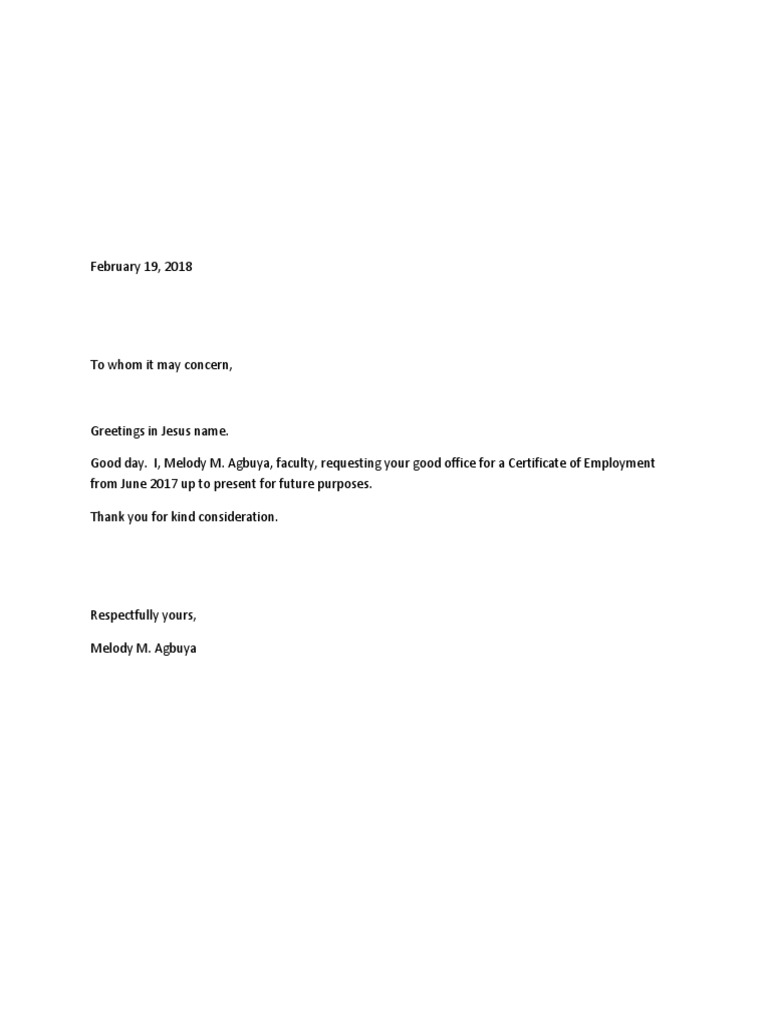 sample request coe letter  COE Request Letter