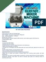 MT-1500 Solder Paste Mixer Machine Specs and Features