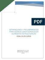 Separaciones y Recubrimientos Para Aceros Longitudinales en Elementos Estructurales
